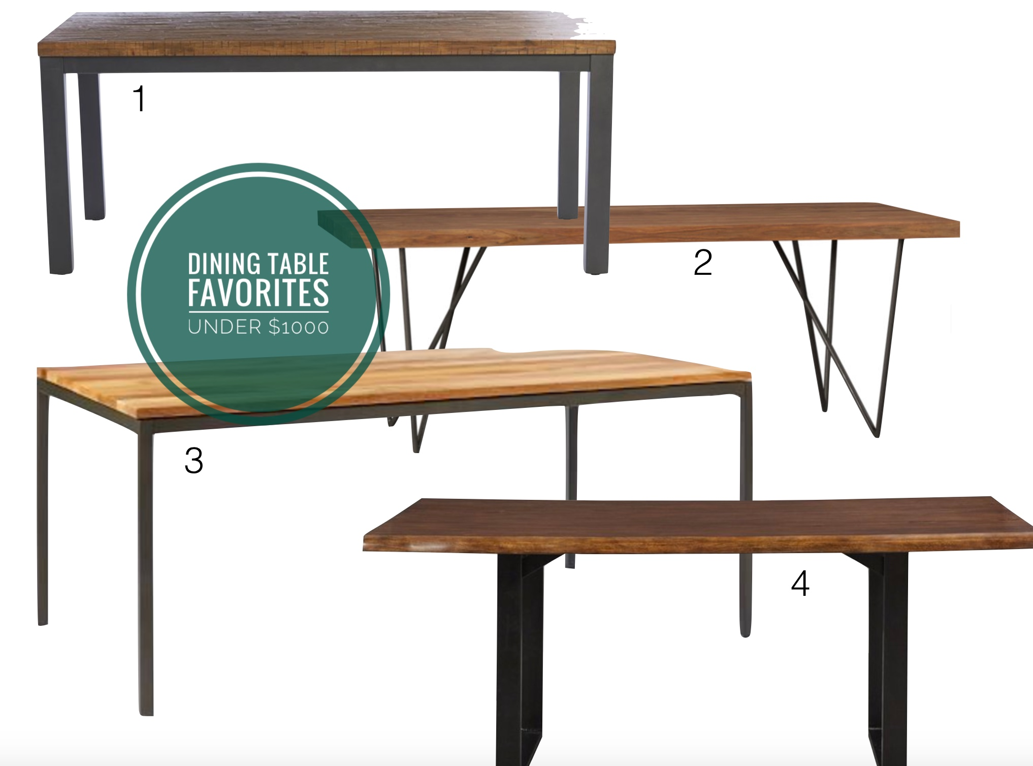 affordable favorite dining tables — all under $1000