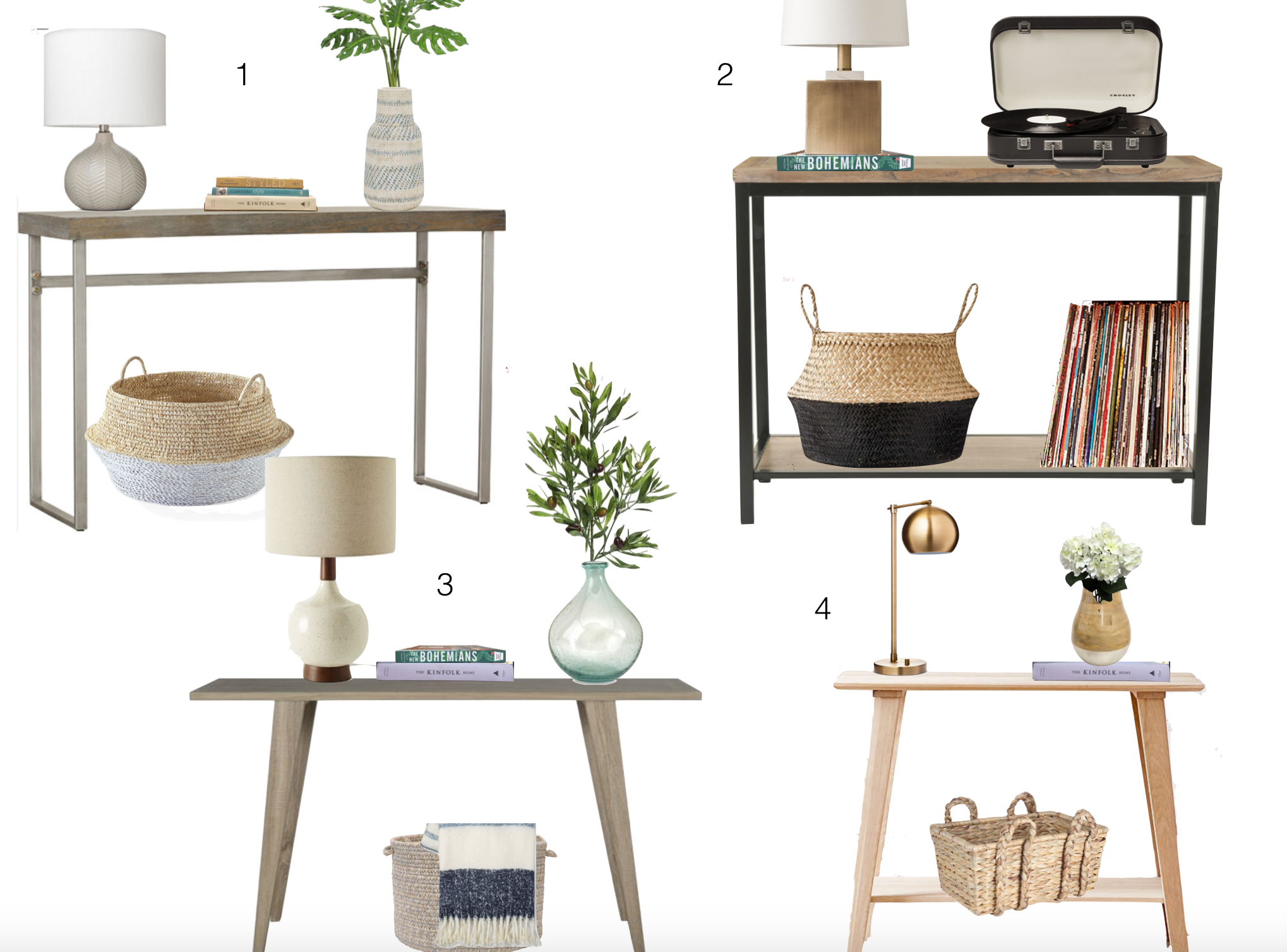 budget-friendly entry tables and styling
