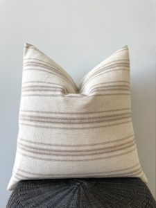 tan stripe grain sack pillow