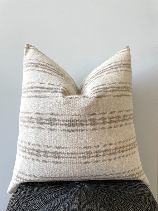 tan stripe grain sack pillow