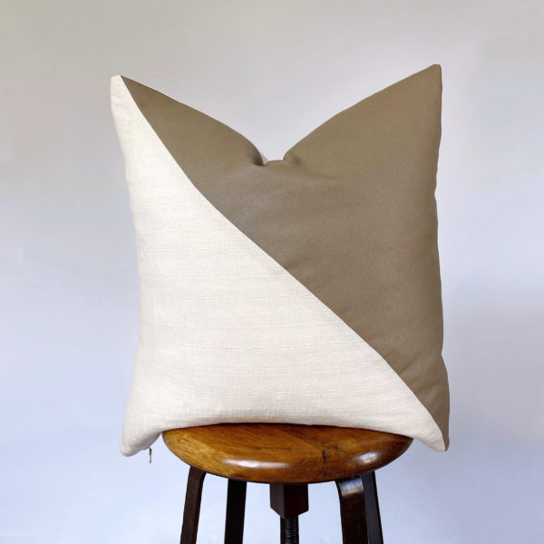 vintage fabric + faux leather throw pillow
