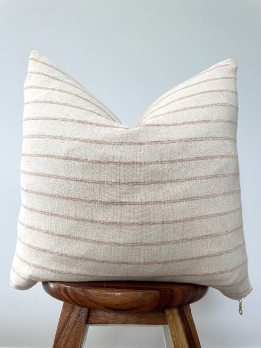 striped hemp neutral pillow cover made with fabric sourced from Thailand